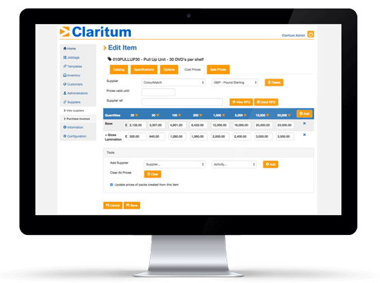 Claritum's e procurement software