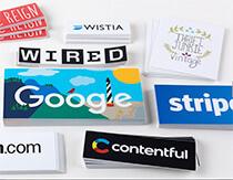 Stickers with big tech company logos