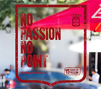 Text on winodw vinyl: No Passion No Point